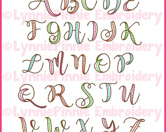 Quick Stitch 2 Color Ribbon Sketch Triple Run DIGITAL Embroidery Font -- 4 sizes + BX