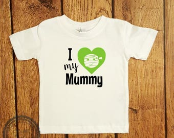 Halloween I Love my Mummy Shirt- Baby First Halloween Outfit- toddler infant Kids Trick or Treat- Halloween Party Shirt- Trunk or Treat#026