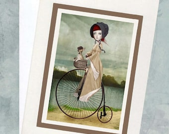 Penny Farthing Greeting Card - Girl And Chihuahua - A5 Greeting Card - A Penny For Your Thoughts
