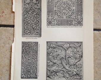 1890 Wood Carving Antique Illustrations