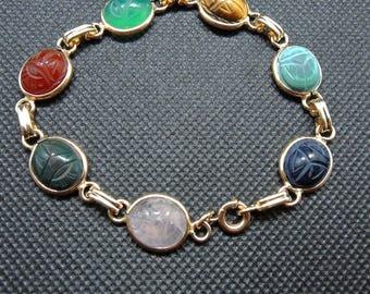 12K Solid Gold Scarab Bracelet - 7 1/2 Inch Gold Scarab Bracelet - 7 Gem Stones
