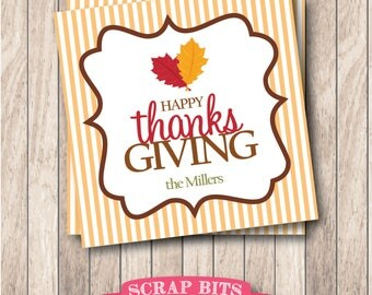 Personalized Printable Happy Thanksgiving Tags, Printable Thanksgiving Favor Tags