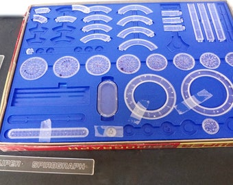 Vintage Super Spirograph Replacement Pieces With 2 Instruction Books Drawing Base And Pins TRAY AND BOX Not Included