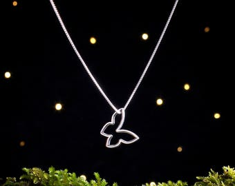 Sterling Silver Free Floating Mod Butterfly - Double Sided - (Pendant or Necklace)