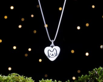 Sterling Silver Kitty Charm - Cat Lover Gift - Double Sided - (Charm, Necklace, or Earrings)