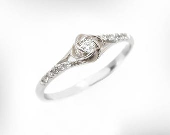 Superieur Vintage Engagement Ring, 14K / 18K White Gold Diamond Engagement Ring, Rose Engagement  Ring