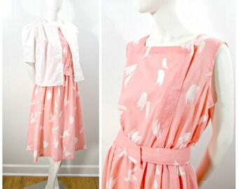 Vintage Dress Set, 80s Pink White Linen Blend Dress White Jacket, Elastic Gathered Waist Sleeveless Dress White Short Puff Sleeve Jacket