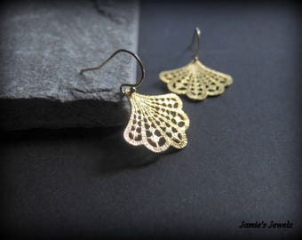 Gold Art Deco  Earrings - Gold Fan Earrings - Gold Filigree Earrings - Modern Earrings Gold - Everyday Gold Earrings - Gold Everyday