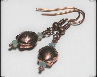 Handmade Jewelry, Handmade Earrings, Beaded Earrings, Crystal, Antique Copper, Sea Shell, Seashell, Beach, Dangle, Aqua, Blue, Fanceethat