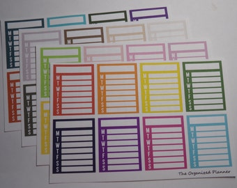 Weekly Checklist Stickers / Sidebar Stickers / Planner Stickers