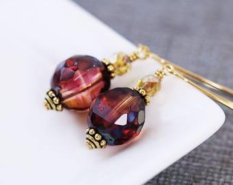 Red Drop Earrings | Red Earrings | Wife Gift for Her | Autumn Jewelry Gift | Gift for Mom | Gold Beaded Earrings | Glass Dangle Earrings