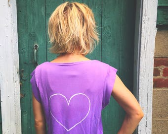 Yoga shirt, ombre shirt, dip dye shirt, lavender shirt, heart print shirt, pocket tee, pocket t-shirt, yoga t-shirt, purple and orange shirt
