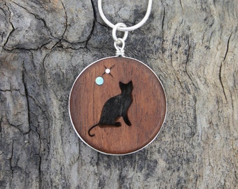 Black Cat Necklace, Hand-carved Walnut Sitting Cat Silhouette Pendant On Sterling Silver, Cat Lover Gift, Crazy Cat Lady Pendant