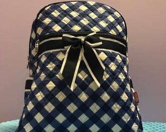 Personalized Navy Plaid Backpack