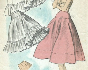 Vintage 50s Advance 6071 Rockabilly Full Skirt Ruffled Petticoat, Hip Ruffle and Hips Pads Sewing Pattern Waist Size 26