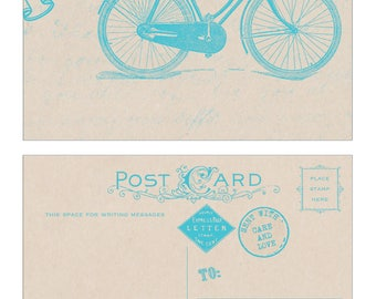 Thank You Bicycle Postcard in Blue - Vintage Inspired 10 pack