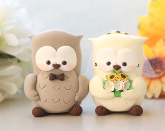 Owl wedding cake toppers - sunflowers daisies bride groom figurines personalized elegant rustic country love birds interracial tan ivory