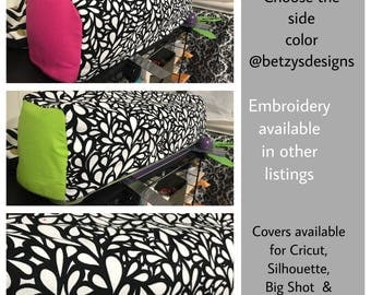 Cricut Maker, Explore or Explore Air Quilted Cover,  Black/WhiteInterFlower Fabric, Choose Side  Colors!