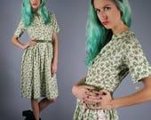 50s Cotton Dress 1950s Floral Dress Pastel Green Dress Print House Dress Day Dress Shirtwaist Dress With Belt