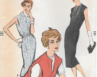 Vogue 9405 1950s Sleeveless Sheath Dress or Jumper Vintage Sewing Pattern Bust 34 Gathered Waist Easy to Make
