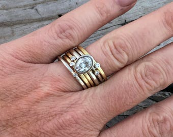 Moissanite Diamond Engagement Ring Handmade Wedding Ring Wild Prairie Silver Jewelry Joy Kruse