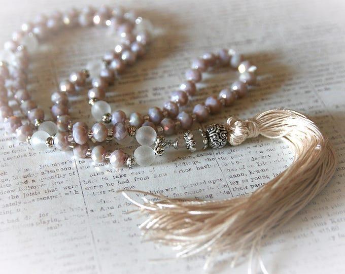 Long Bohemian Tassel Wedding Necklace. Modern Boho Chic Jewelry. Mix of White, Cream, Ivory, Beige Colors.