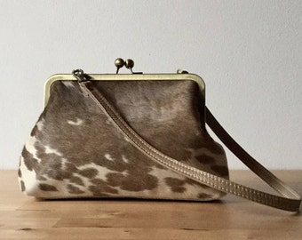 Brown leather clutch, cowhide clutch, hair on hide clutch, calf hair purse, clutch with leather strap