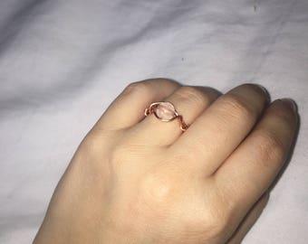 Rose Quartz, Rose Gold Ring