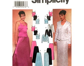 Evening Wear Pattern Jacket, Camisole Top, Slim or Flared Skirt Pattern Simplicity 7010 Dressy Suit Womens Size 14 16 18 20 UNCUT