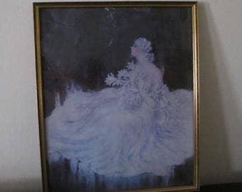 Lilies framed print by Louis Icart Art deco nouveau 20s 30s vintage