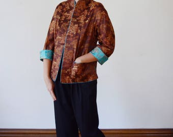 80s/90s Aqua and Brown Reversible Chinese Brocade Jacket - M
