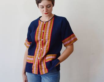 1970s Blue Top with Apron Pockets - S