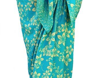 Plumeria Beach Sarong Skirt Batik Pareo Women's Clothing Wrap Skirt Beach Skirt or Dress Batik Sarong Cover Up - Aqua & Cream Beach Wedding