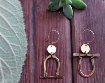 Passageways Earrings - Asymmetric Minimalist Brass Earrings - People Earrings - Boho Artisan Jewelry - Lightweight Earrings