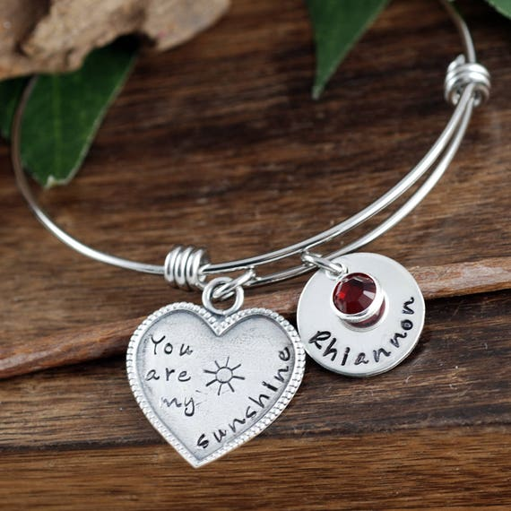 You Are My Sunshine Bracelet, Personalized Bangle Bracelet, Silver Charm Bracelet, Charm Bracelet for Mom, Gift for Mom, Kids Names