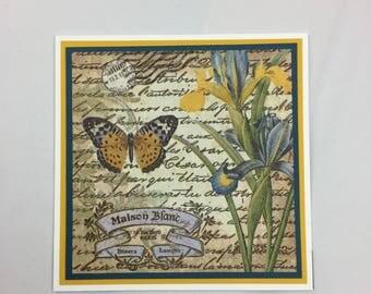 Handmade Botanical Card, Butterfly