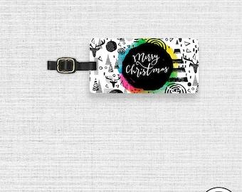 Custom Luggage Tag Merry Christmas Colorful Pop Metal Luggage Tag  With Printed Custom Info On Back, Single Tag