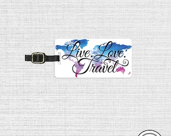 Luggage Tag Live Love Travel Watercolor Map Metal Luggage Tag  With Custom Info On Back, Single Tag