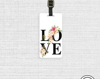 Luggage Tag LOVE Floral Cottage Chic Metal Luggage Tag With Printed Custom Info On Back, Single Tag