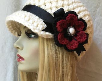 Crochet Newsboy Womens Hat, Teens Girls, Cream, Off White and Red, Soft Chunky, Ribbon, Flower, Gifts for Teens, Birthday Gifts JE505NFR4
