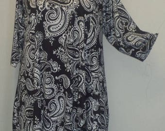 Plus Size Tunic, Coco and Juan, Plus Size Asymmetrical, Tunic Top, Black White Paisley, Traveler Knit Size 1 (fits 1X,2X)   Bust 50 inches
