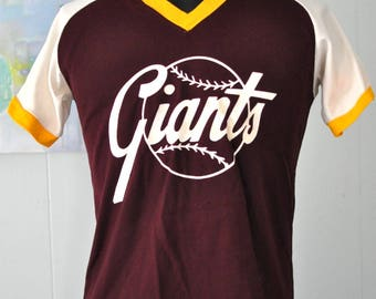 Vintage 80s Baseball Jersey Little League Giants Maroon Red Gold White Adult LARGE