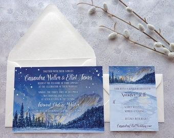 Cascadia Wedding Invitations - Mountain Wedding - Winter Wedding - Northwest Wedding - Nature Wedding - Watercolor Wedding