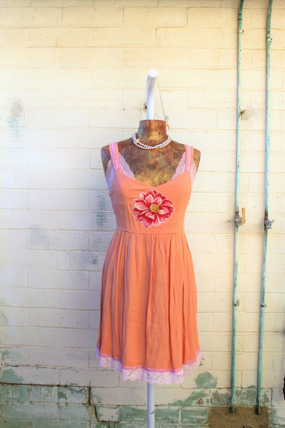 Small Romantic Hippie Upcycled dress/Wearable Art/Upcycled Dress/Ecru Rustic Wedding/Upcycled cowgirl/Tattered Revolution/French Summer