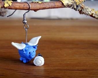 romantic flying blue pig ear ring - white rose ear stud