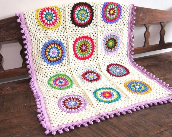 Handmade Crochet Baby girl nursery blanket  / afghan granny squares 28 by 37 inch 100 % Soft acrylic yarn