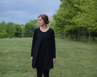Sample Sale Womens Small Cotton Black Jersey Knit Tunic Dress Made in the USA