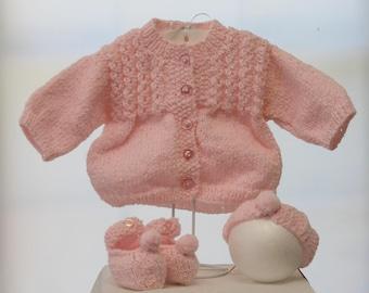 Light pink three-piece knit baby sweater set  baby shower gift Baptism Christening dj