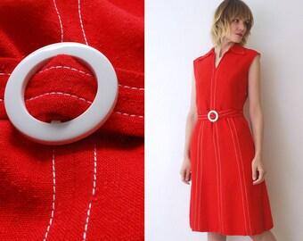 60s mod dress. bright red midi dress. belted dress. viscose and silk dress - small, medium