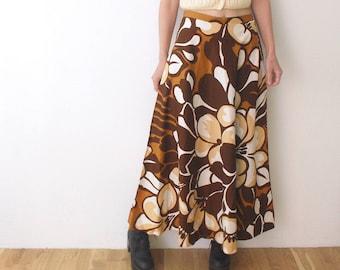 70s maxi skirt. psychedelic print skit. long cotton skirt - medium
